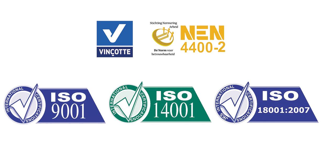 Certificari Vincotte, NEN4400-2, ISO-9001, ISO-14001, ISO-18001:2007